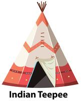 Traditional indian teepee on white background