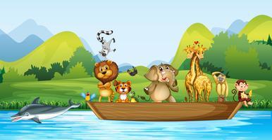 Animales salvajes en el bote de madera.