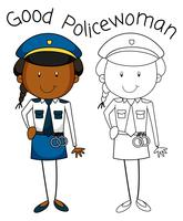 Doodle good policewoman character
