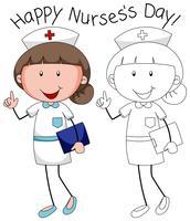Doodle personnage d'infirmière heureux