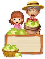 Agricultor, segurando, alface, ligado, tábua madeira