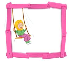 A muslim girl sin on swing frame