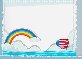 Paper design with balloon and ocean