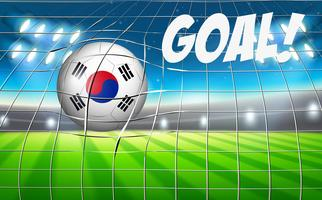 Una bandera de pelota de fútbol de Corea del Sur
