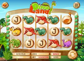 Slot game template with dinosaur characters