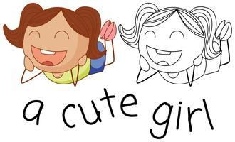 Gekritzel süße Mädchen Charakter