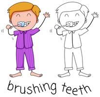 Doodle menino escovando os dentes vetor