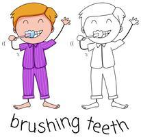 Doodle boy brushing teeth