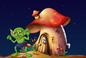 Green elf and mushroom house at night