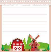 Line paper design with barn and windmill