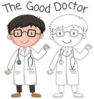 Doodle good doctor character vector