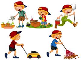 Set of boy gardening vector
