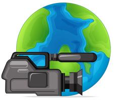 Professional video camera on globe vector