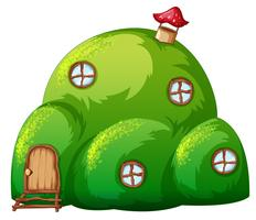 A green hill fairy tale house