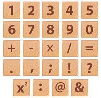 Simbolo del carattere numerico in legno