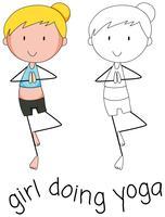 Gekritzel des Mädchens, das Yoga tut