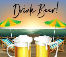 Two glasses of beer and beach view with phrase drink beer vector
