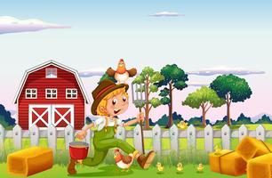 Farmer and chickens on farmyard