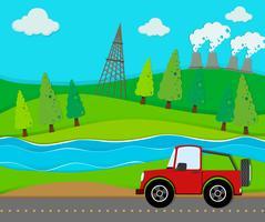 Rode jeep die op de weg berijdt