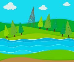 Campo verde lungo il fiume