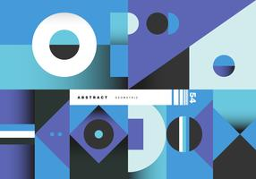 Retro Blue Abstract Geometric Poster Vector