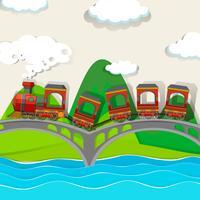 Tågkorsning över bron