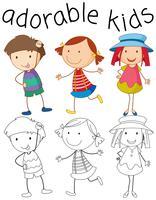 Set av doodle förtjusande barn