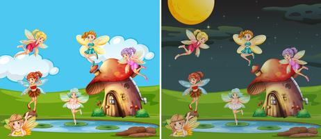 Two scenes with fairies at day and night