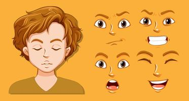 Set of man facial expression