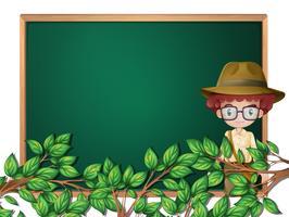 A boy scout on blackboard template vector