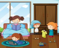 Grupo de niños doodle en dormitorio