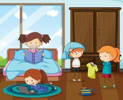 Group of doodle kids in bedroom