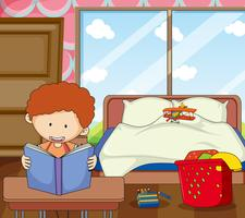 Niño estudia en el dormitorio