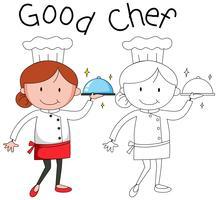 Doodle vrouwelijke chef-kok karakter