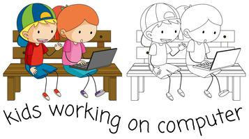 Doodle kids working on computer