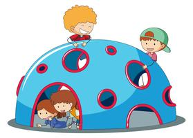 Kids playig at playground dome climber