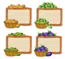 Set of wooden banner and vegetable
