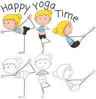 Doodle niña haciendo yoga