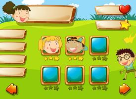 Children face on game template vector