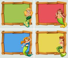 Wooden frame design with mermaids