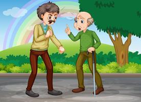 Två gamla män kämpar i parken