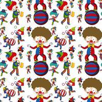 Circus clown on seamless pattern