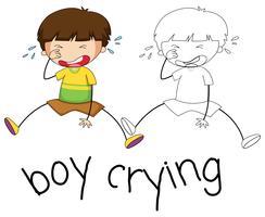 Doodle jongen huilend karakter