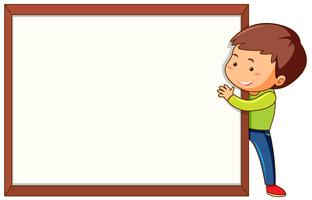 A boy and blank frame vector