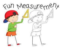 Doodle garoto segurando a ferramenta de medição