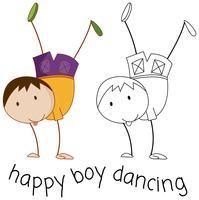 Doodle jongen karakter dansen
