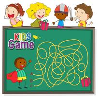 Maze game on chalkboard template