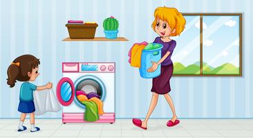 Mother and daughter doing laundry