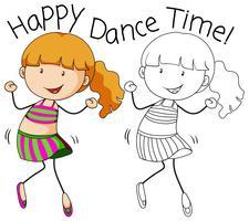 Doodle meisje karakter dans