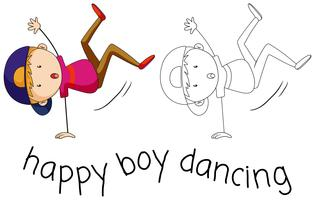 Doodle personagem de menino dançando